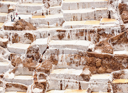 Salt pans built on terraces near Maras, Peru.  The pans are fed by a natural spring and the salt has been collected since pre-Inca times.